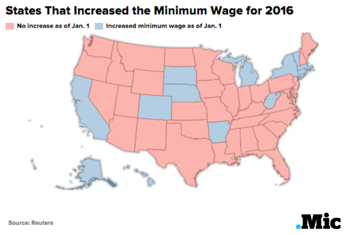 here are the states that increased minimum wage in one map mic. Black Bedroom Furniture Sets. Home Design Ideas