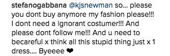 Stefano Gabbana goes to war with his Instagram followers after praising Melania Trump