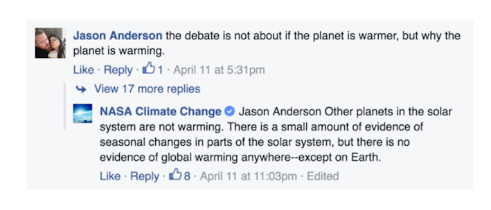 NASA Publicly Smacked Down Climate  Change Deniers on Bill Nye's Facebook Page
