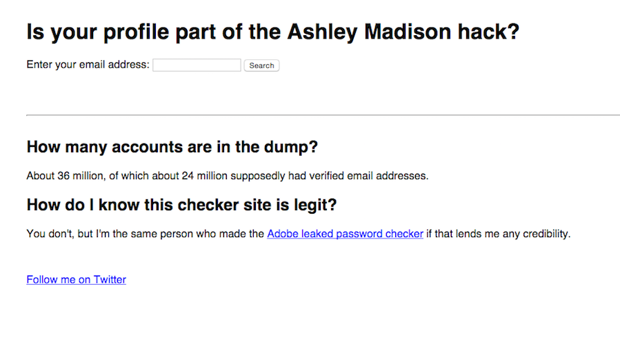 find your email part ashley madison hack