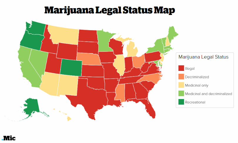 The Big Year For Marijuana - Us map on weed laws