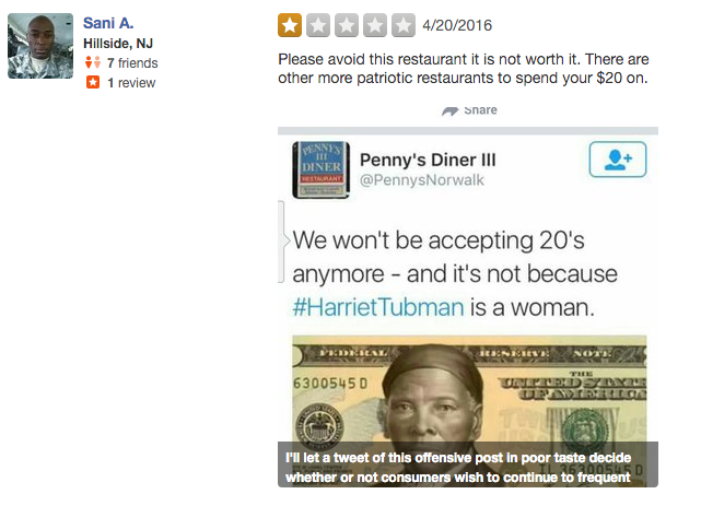 Penny's Diner in Connecticut Alleges Racist Harriet Tubman Tweets Were a Hoax