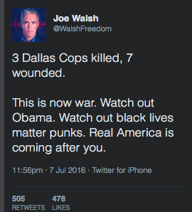 After the Dallas Police Shooting, Former Congressman Joe Walsh Threatened Obama on Twitter