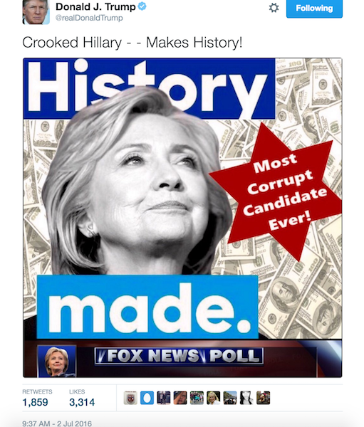 Donald Trump's Latest Anti-Hillary Ad  Uses a Star of David to Call Clinton Corrupt