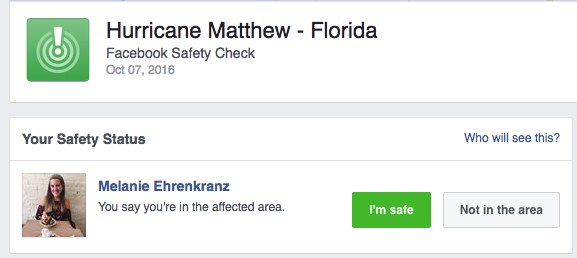 Facebook Safety Check activated for Hurricane Matthew: Let your friends know you're safe