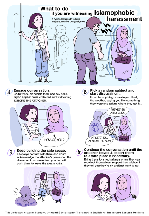 Artist Marie-Shirine Yener made a comic for bystanders who witness anti-Muslim harassment