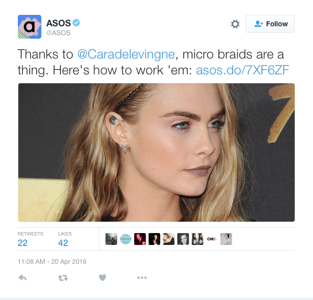 ASOS Thinks Cara Delevingne Started Micro Braids, Internet Cleverly Educates Them