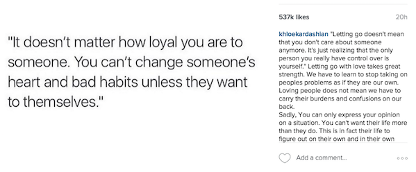 Khloé Kardashian Opened Up About Letting Go in a Candid and Heartbreaking Instagram Post