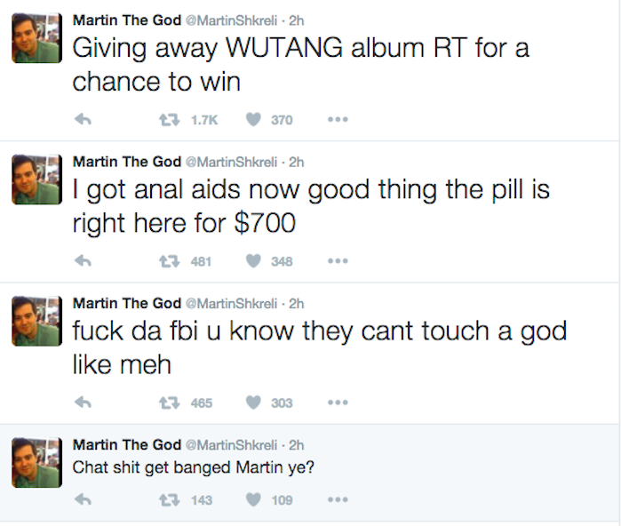It Appears That Martin Shkreli's Twitter Account Has Been Hacked