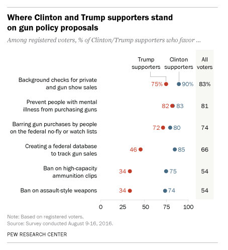 Clinton and Trump fans find shaky common ground in unlikely place: gun control