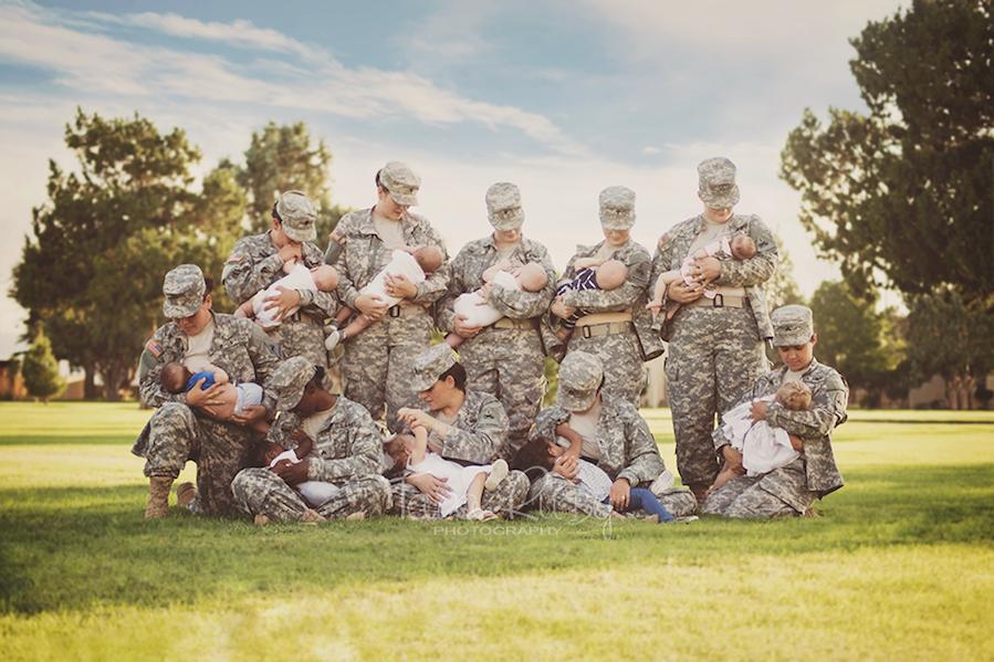 Active Duty Soldiers Free the Nipple in Breastfeeding Photo While in Full Uniform