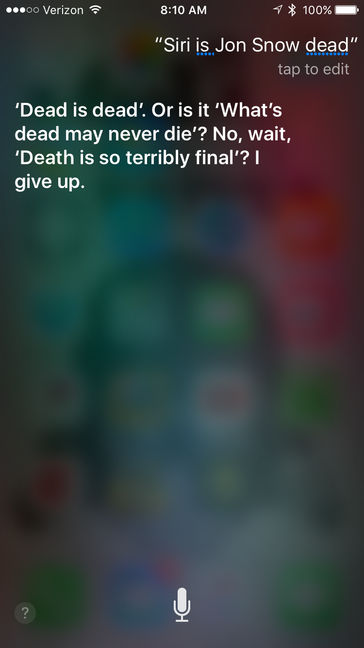 Ask Siri About 'Game of Thrones' and You'll Get a Sassy Response