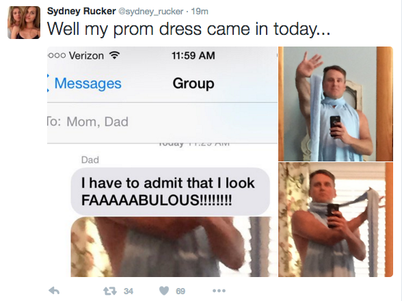 Dad Hilariously Tries on Daughter's Prom Dress, Proceeds to Win the Internet