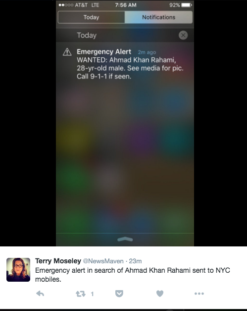 Emergency alert for alleged NYC bomber Ahmad Khan Rahami rightfully freaked people out