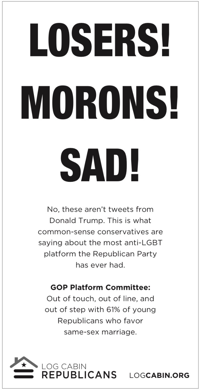 "Log Cabin Republicans Call Republican National Convention Platform ""Sad!"""