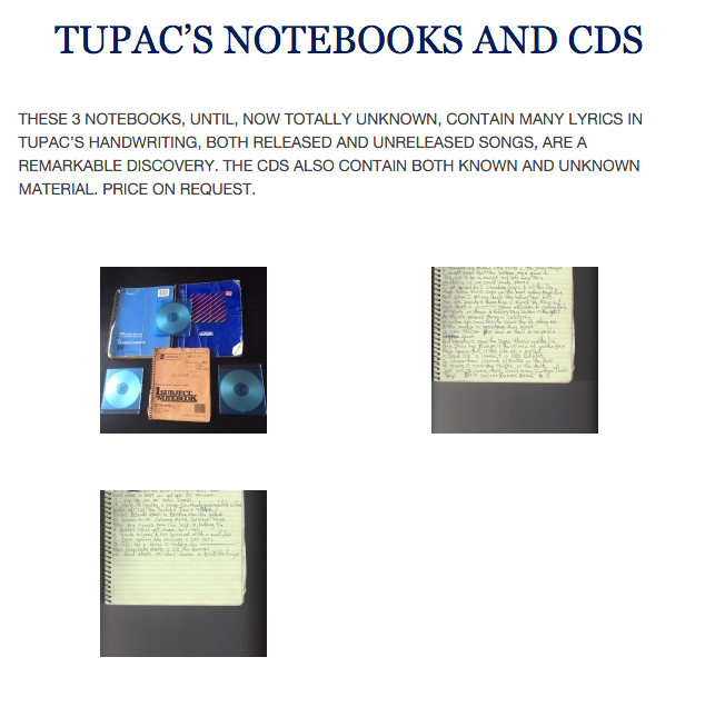 Tupac Shakur: New Music and Handwritten Notebooks From Late Rapper Sold on Craiglist