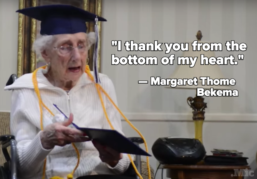 97-Year-Old Woman Gives Tearful Speech After Getting Her Diploma Eight Decades Later