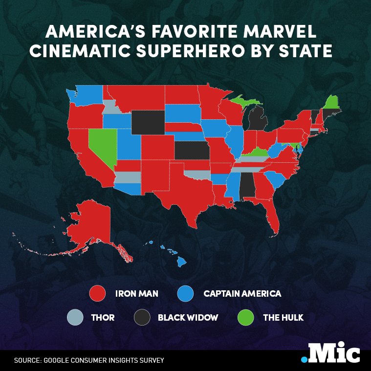 Each State's Favorite Marvel Superhero — In One Surprising Map
