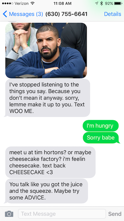 There Is a Drake Bot Called Botline Bling and You Can Use It to Be Wooed By the 6 God