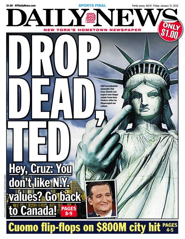 "'NY Daily News' Strikes Back at Cruz's Comments on ""New York Values"" With Scathing Cover"