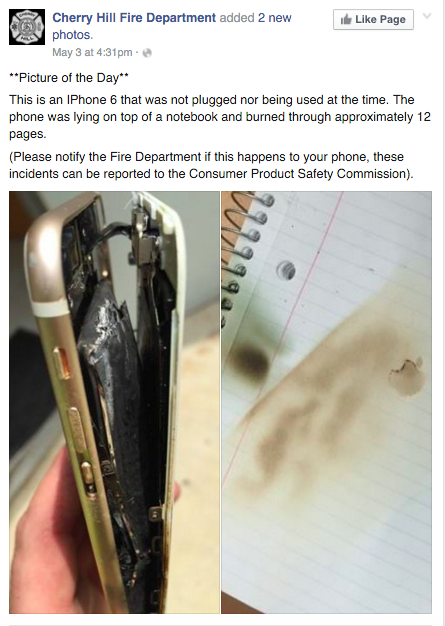 New Jersey Teen's iPhone Overheated and Burned Through a Notebook