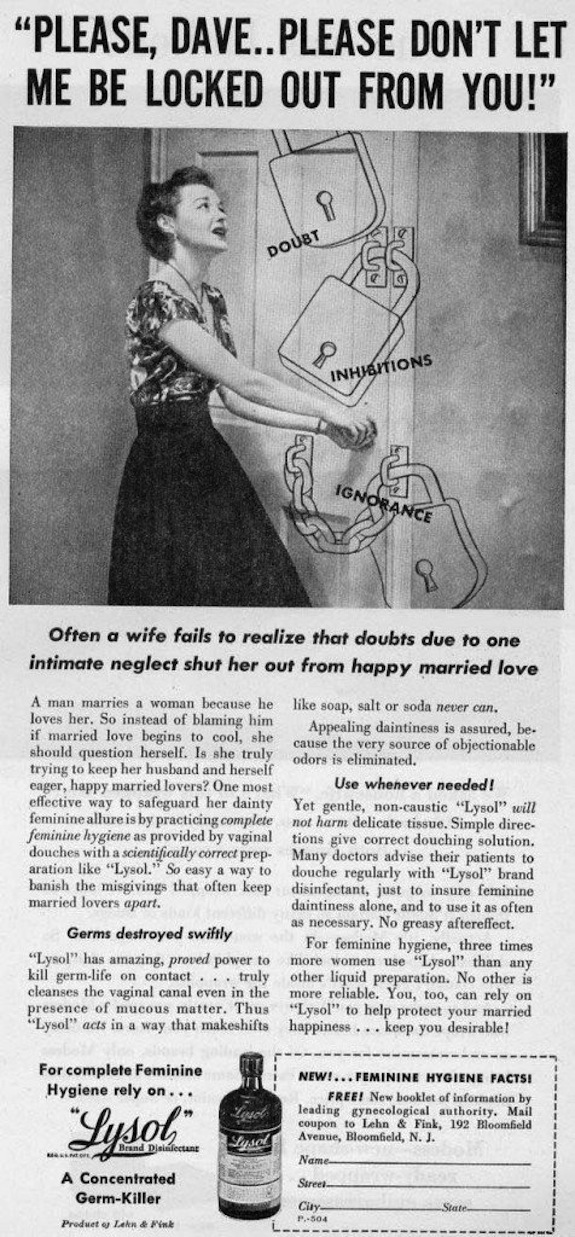 This Horrifying Vintage Lysol Ad Says You Should Use It to Wash Your Vagina
