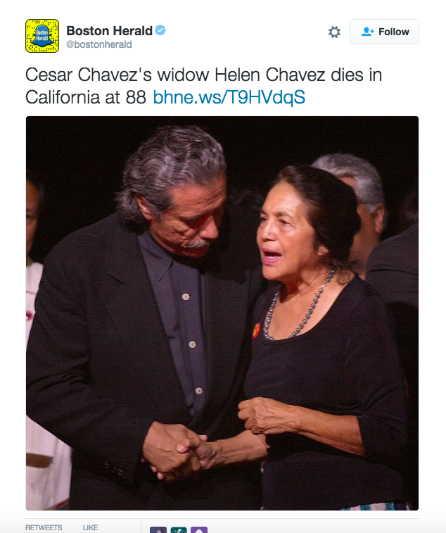 Boston Herald Confuses Cesar Chávez's Deceased Widow With Civil Rights Icon Dolores Huerta