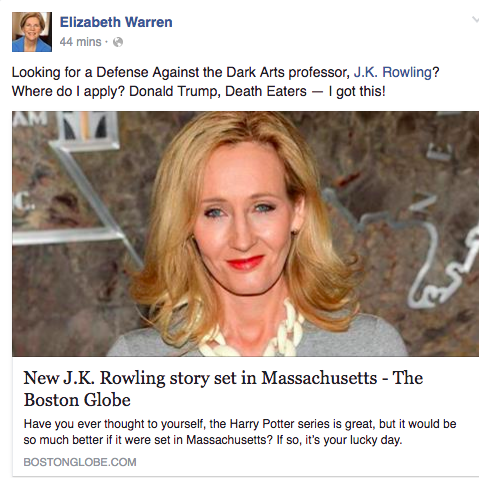 Elizabeth Warren Asked JK Rowling to Send Her to Hogwarts, This Election Is Something Else
