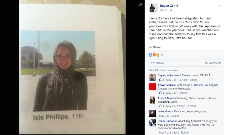 "Bayan Zehlif, Muslim Student in California, Identified as ""Isis Phillips"" in Yearbook"