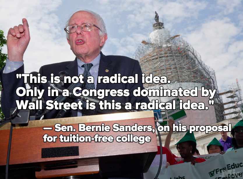 vermont senator bernie sanders and free tuition for students to attend state colleges Bernard sanders (born september 8, 1941) is an american politician serving as  the junior united states senator from vermont  sanders attended james  madison high school, also in brooklyn, where he was captain of the track  he  has described himself as a mediocre college student because the classroom was  boring.