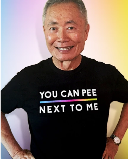 Actor George Takei Claps Back at Anti-Trans Laws With 'You Can Pee Next to Me' Shirt