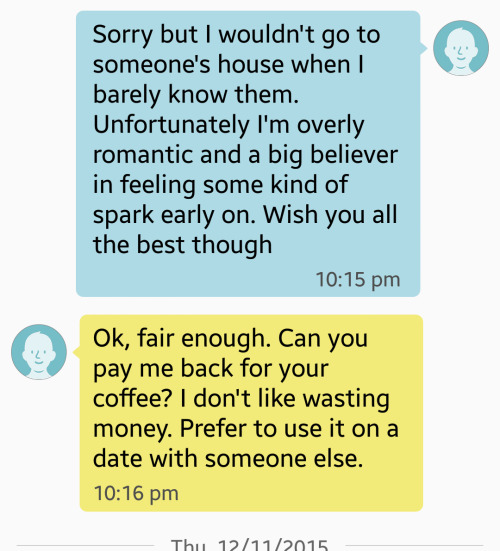 Cheap and Awful Man Demands Woman Pay Him $5.33 After Tinder Coffee Date