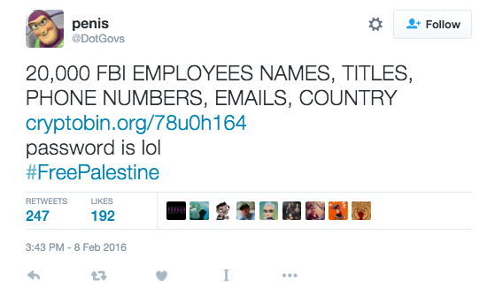 "A Hacker Called ""Penis"" Just Attacked the FBI and DHS, Doxxing 29,000 People"