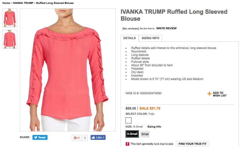 What stores carry ivanka trump clothing