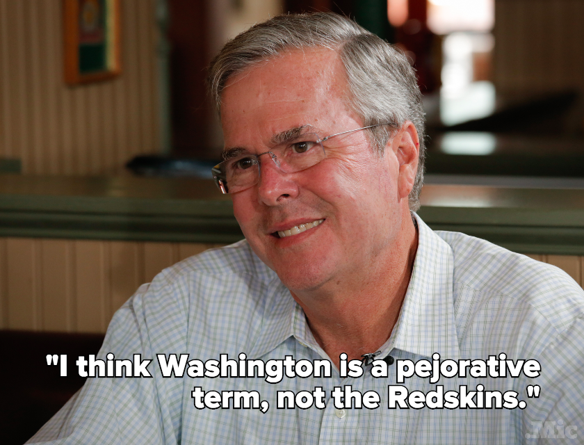 "Jeb Bush Jokes That ""Washington"" Is More Offensive Than ""Redskins"""