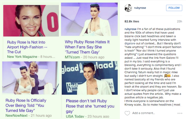 Ruby Rose Sounds Off on Disdain with Recent 'Galore' Interview Being Taken Out of Context