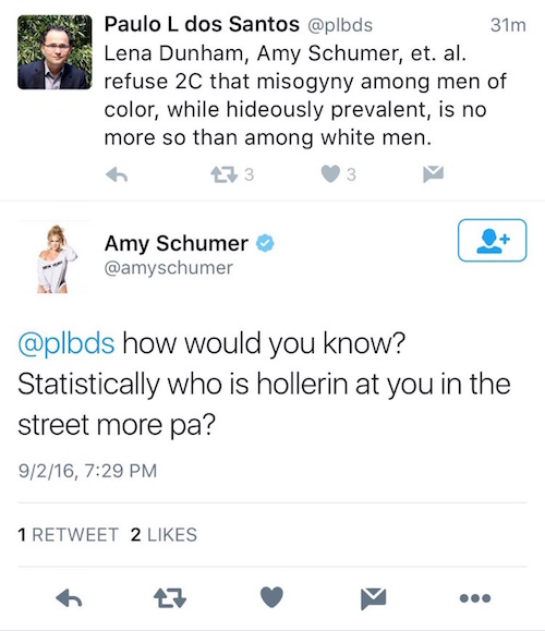 Amy Schumer just tweeted (and deleted) a racist lie about men of color and catcalling