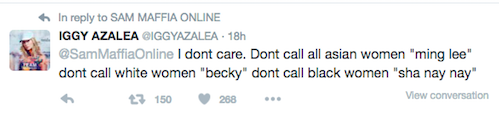 "Iggy Azalea Thinks Beyoncé's ""Becky"" Line From 'Lemonade' Is Racist"