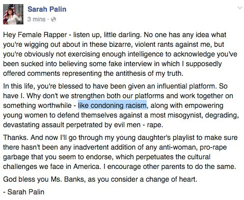 Sarah Palin Responds to Azealia Banks' Gang-Rape Comments, Makes Unfortunate Typo