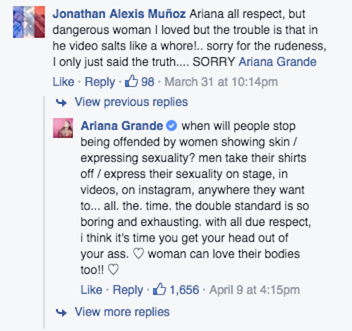 "Ariana Grande Claps Back at Troll Who Called Her a ""Whore"" for ""Dangerous Woman"" Video"