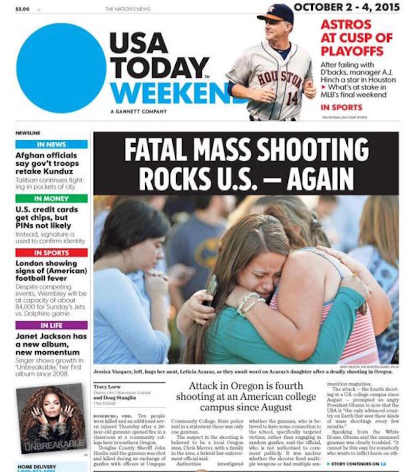 13 Gut-Wrenching Newspaper Covers on the Oregon Shooting That Have One Thing in Common