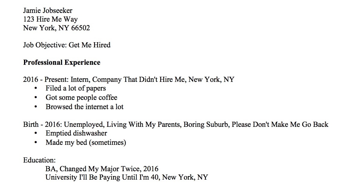 Resume When Youve Never Had A Job
