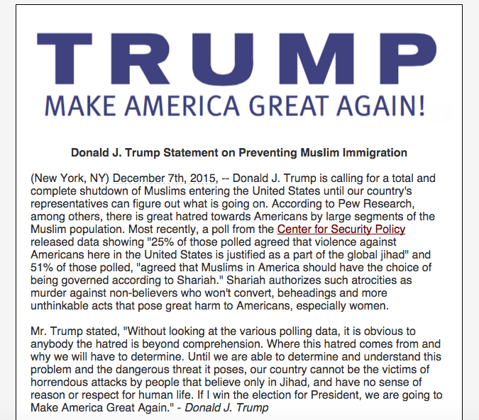 "Donald Trump Calls for ""A Total and Complete Shutdown"" of Muslims Entering the US"