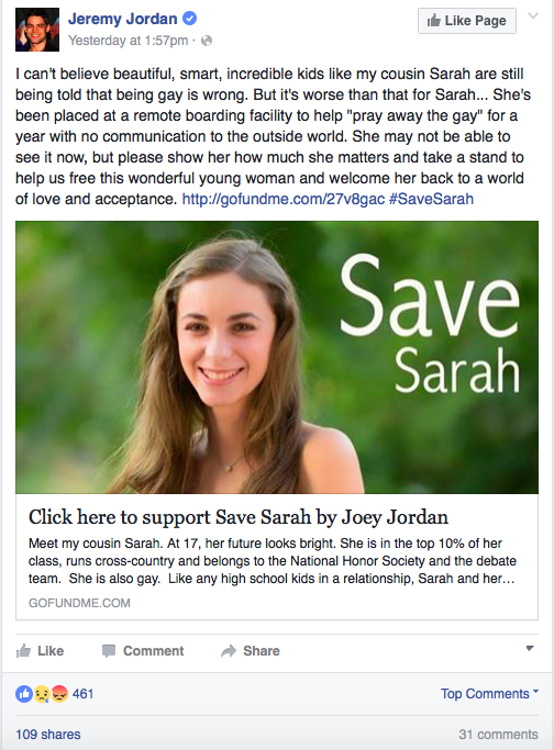 The Internet Is Rallying Behind Sarah, a Teen Forced to Undergo Gay Conversion Therapy