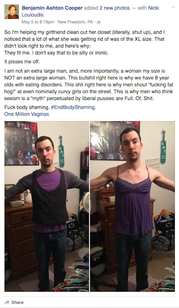 This Man's Facebook Post Perfectly Nails What's Wrong With Women's Clothing