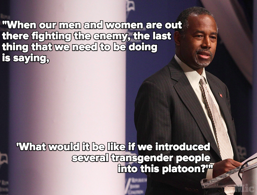 Ben Carson Had a Lot to Say About Women, Gays and Transgender People in the Military
