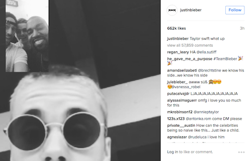 Justin Bieber Blasts Taylor Swift on Instagram While Facetiming With Kanye West