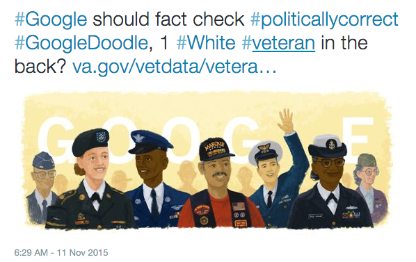 People Are Slamming the Veterans Day Google Doodle for Not Being White Enough