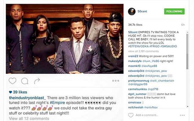 "50 Cent Shares a Post Blaming 'Empire' Ratings Drop on ""Extra Gay Stuff"""