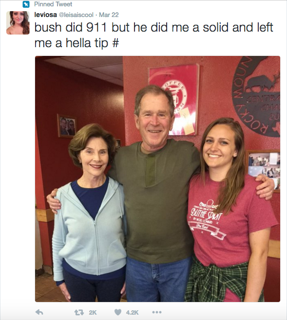 George W. Bush Left This Waitress a Huge Tip, and Her Tweet About It Is Going Viral